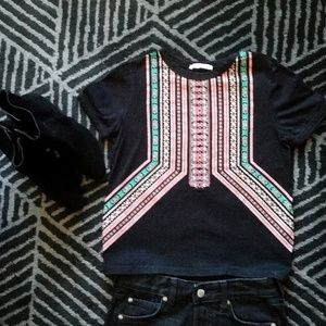 Zara black print short sleeve crop top